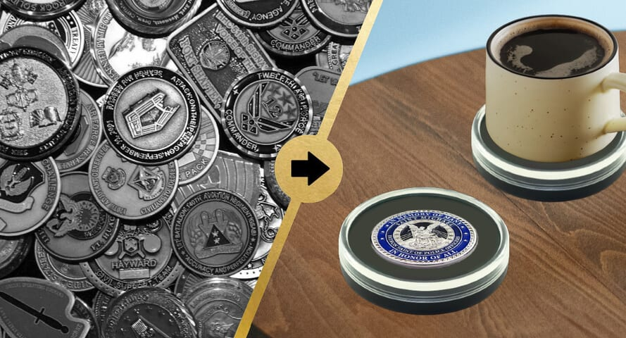 Tabletop Challenge Coin Holder with Coffee