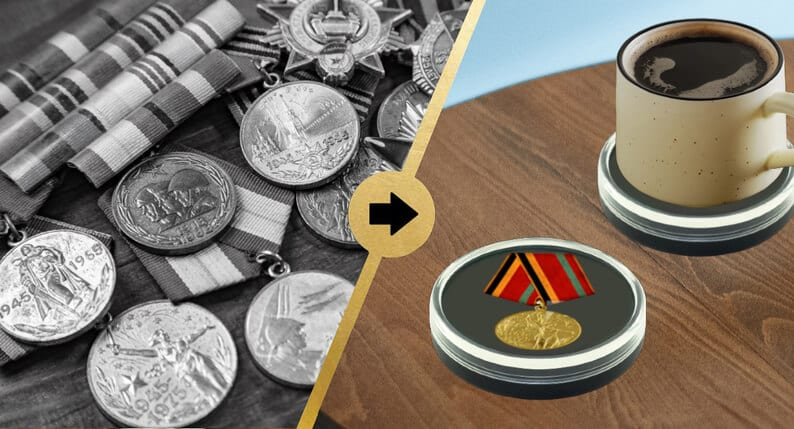 Tabletop Military Medal Display Case with Coffee Mug