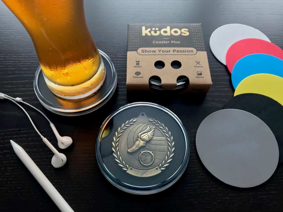 Kudos Coaster Plus with race medal and inserts