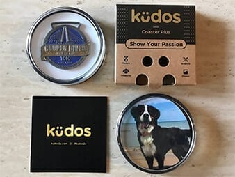 Race Medal and dog picture in coaster display case