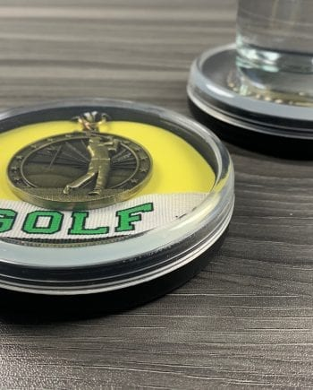 Golf Medal Display Coaster with Drink